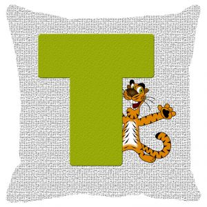 Pillow Covers - Fabulloso Leaf Designs Alphabet Cushion Cover T - 16x16 Inches