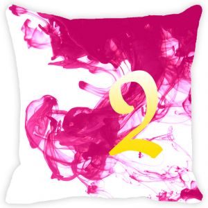 Fabulloso Leaf Designs Numeric Two Cushion Cover - 8x8 Inches