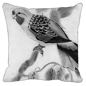 Leaf Designs Black And White Parrot On Branch Cushion Cover - Code 53864152091