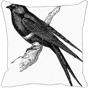 Leaf Designs Black And White Bird Cushion Cover I - Code 53863612091
