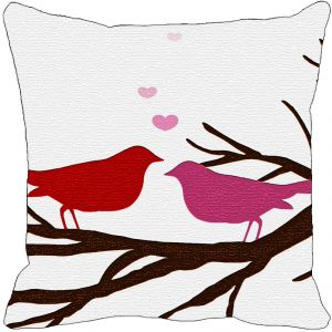 Leaf Designs Red And Pink Birds Cushion Cover - Code 53863792091