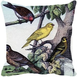 Leaf Designs Birds On Tree Cushion Cover - Code 53863772091