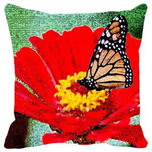 Leaf Designs Red Flower Cushion Cover - Code 53862642091