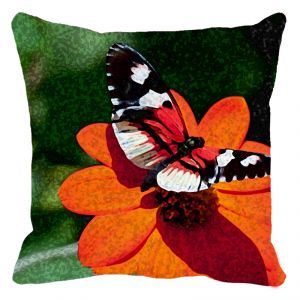 Leaf Designs Butterfly On Red Flower Cushion Cover - Code 53864282091