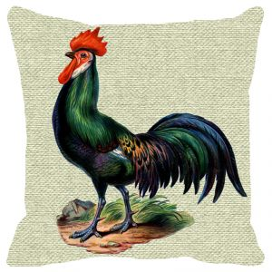 Fabulloso Leaf Designs Green Rooster Cushion Cover - 18x18 Inches