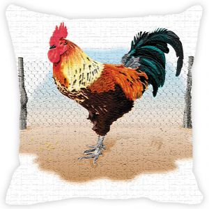 Fabulloso Leaf Designs Multicoloured Rooster Cushion Cover - 16x16 Inches