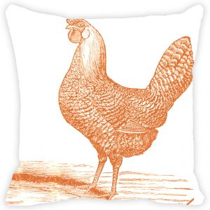 Fabulloso Leaf Designs Peach Rooster Cushion Cover - 18x18 Inches