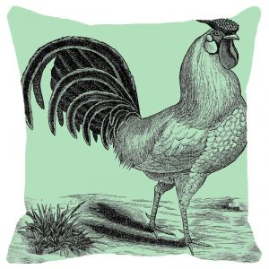 Fabulloso Leaf Designs Green Tone Rooster Cushion Cover - 12x12 Inches