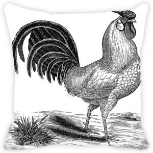 Fabulloso Leaf Designs Grey Rooster Cushion Cover - 16x16 Inches