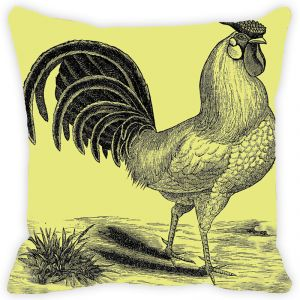 Fabulloso Leaf Designs Lemon Rooster Cushion Cover - 18x18 Inches