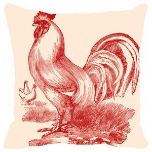 Fabulloso Leaf Designs Monochromatic Red Rooster Cushion Cover - 12x12 Inches