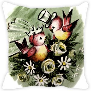 Fabulloso Leaf Designs Two Birds Cushion Cover - 16x16 Inches