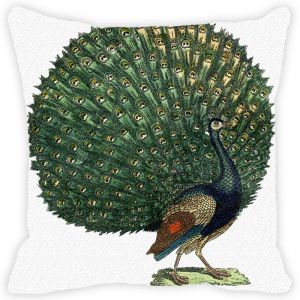 Fabulloso Leaf Designs Dancing Peacock Cushion Cover - 18x18 Inches