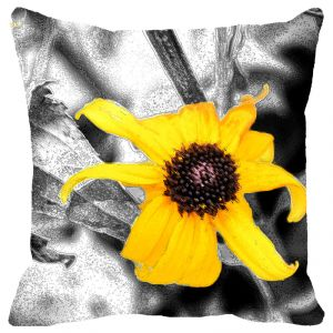 Fabulloso Leaf Designs Yellow Floral Cushion Cover - 16x16 Inches