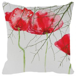 Fabulloso Leaf Designs Spring Red Floral Cushion Cover - 18x18 Inches