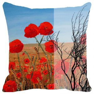 Fabulloso Leaf Designs Cloudy Red Floral Cushion Cover - 18x18 Inches