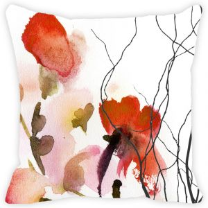 Fabulloso Leaf Designs Red Watercolour Floral Cushion Cover - 18x18 Inches