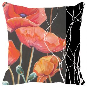 Fabulloso Leaf Designs Black And Red Floral Cushion Cover - 18x18 Inches