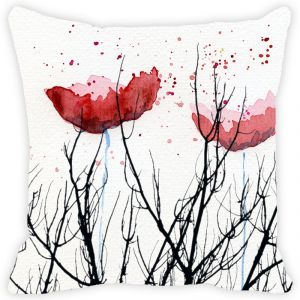 Fabulloso Leaf Designs Black Stems And Red Floral Cushion Cover - 16x16 Inches
