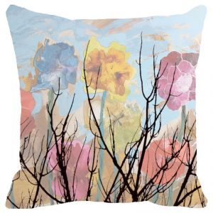 Fabulloso Leaf Designs Multicoloured Cloudy Floral Cushion Cover - 16x16 Inches
