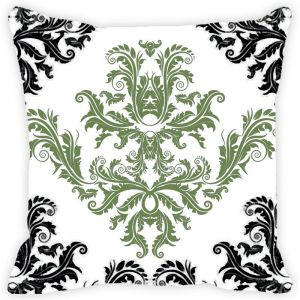 Fabulloso Leaf Designs Black And Green Floral Pattern Cushion Cover - 12x12 Inches