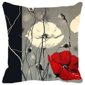 Fabulloso Leaf Designs Black Red And Grey Floral Cushion Cover - 16x16 Inches