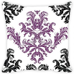 Fabulloso Leaf Designs Black And Purple Cushion Cover - 16x16 Inches