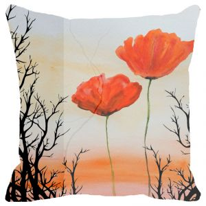 Fabulloso Leaf Designs Sunset And Red Floral Cushion Cover - 12x12 Inches