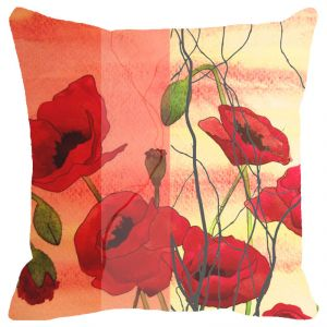Fabulloso Leaf Designs Orange And Red Floral Cushion Cover - 18x18 Inches