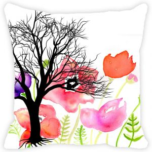 Fabulloso Leaf Designs Tree And Multicoloured Floral Cushion Cover - 8x8 Inches