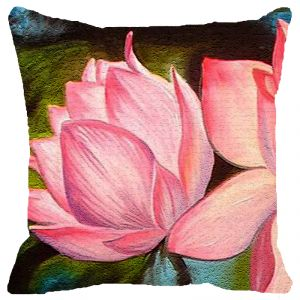 Fabulloso Leaf Designs Pink Lotus Cushion Cover - 16x16 Inches