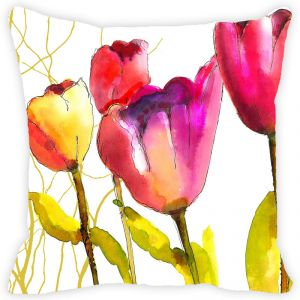 Fabulloso Leaf Designs Multicoloured Floral Cushion Cover - 16x16 Inches