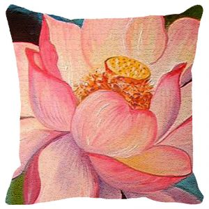 Fabulloso Leaf Designs Peach Lotus Cushion Cover - 18x18 Inches