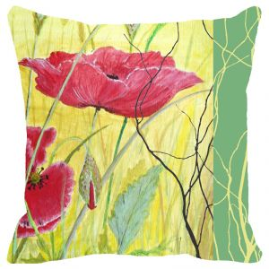 Fabulloso Leaf Designs Yellow And Red Floral Cushion Cover - 16x16 Inches