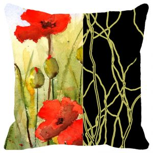 Fabulloso Leaf Designs Black Band And Red Floral Cushion Cover - 16x16 Inches