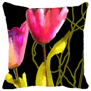 Fabulloso Leaf Designs Black And Pink Floral Cushion Cover - 16x16 Inches