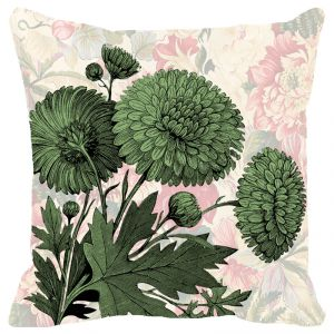 Fabulloso Leaf Designs Chintz Green Floral Cushion Cover - 18x18 Inches