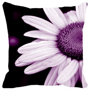 Fabulloso Leaf Designs Purple Daisy Cushion Cover - 16x16 Inches