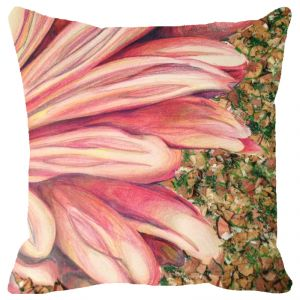 Fabulloso Leaf Designs Pink Petals Cushion Cover - 16x16 Inches