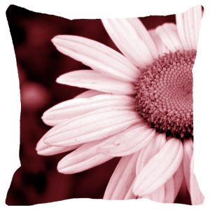 Fabulloso Leaf Designs Pink Daisy Cushion Cover - 16x16 Inches