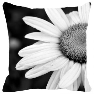 Fabulloso Leaf Designs Black And White Daisy Cushion Cover - 16x16 Inches