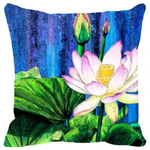 Fabulloso Leaf Designs Blue And Green Floral Cushion Cover - 18x18 Inches