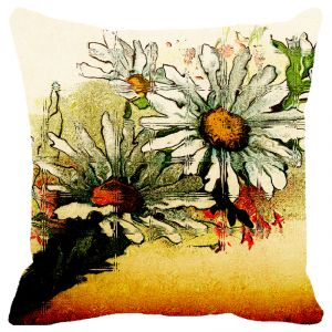 Fabulloso Leaf Designs Sunset Multicoloured Floral Cushion Cover - 16x16 Inches