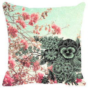 Fabulloso Leaf Designs Pink Blossoms Floral Cushion Cover - 16x16 Inches