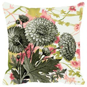 Fabulloso Leaf Designs Vintage Green Floral Cushion Cover - 16x16 Inches