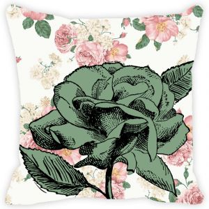 Fabulloso Leaf Designs Vintage Green Rose Cushion Cover - 16x16 Inches