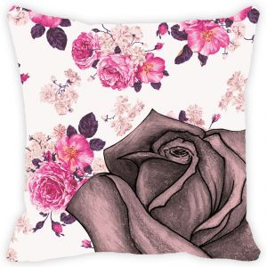 Fabulloso Leaf Designs Vintage Pink Rose Cushion Cover - 18x18 Inches