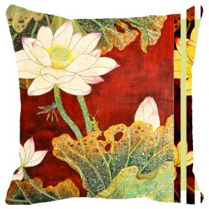 Fabulloso Leaf Designs Red And Green Floral Cushion Cover (b) - 8x8 Inches