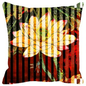 Fabulloso Leaf Designs Red And Green Floral Stripe Cushion Cover - 8x8 Inches