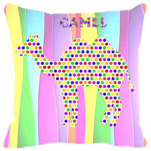 Fabulloso Leaf Designs Multicoloured Camel Cushion Cover - 8x8 Inches